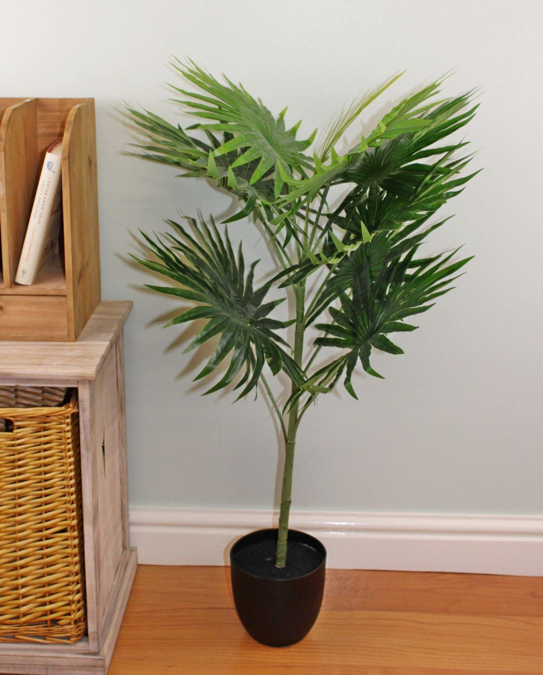 Artificial Fan Palm Tree  With 10 Leaves, 100cm - Angelo's Outlet Ltd