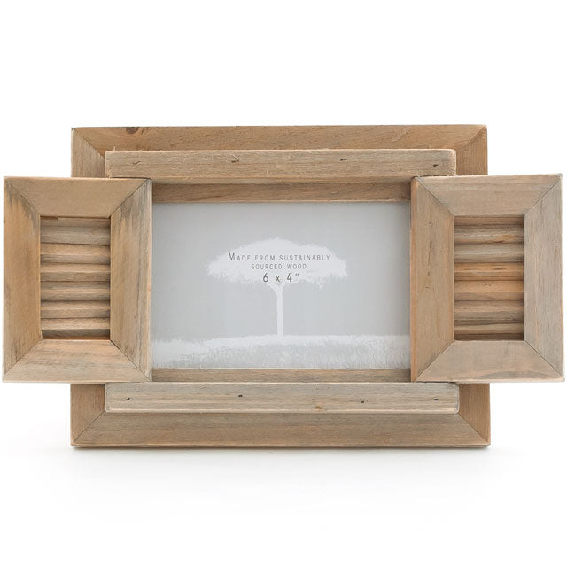 Driftwood Photo Frame With Shutter - Angelo's Outlet Ltd