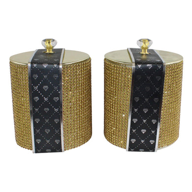 Set of 2 Gold Diamante Decorated Candle Jars, Fragranced | Angelo's Outlet