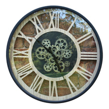 Load image into Gallery viewer, Black And Natural Moving Gear Clock, 57cm. - Angelo's Outlet Ltd