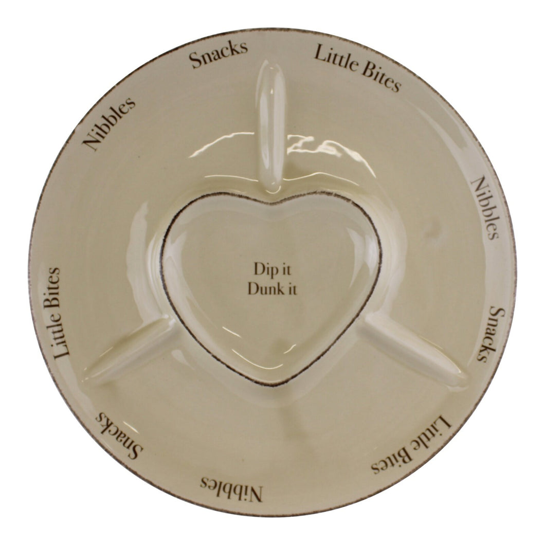 Heart Range Large Round Snack & Dip Plate 30cm