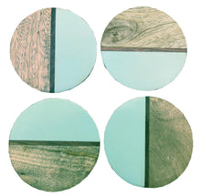 Load image into Gallery viewer, Set Of 4 Round Two Toned Wooden Coasters - Green