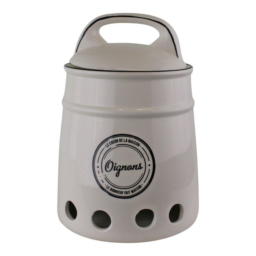 Ceramic Onion Storage Jar, Vintage French Style - Angelo's Outlet Ltd
