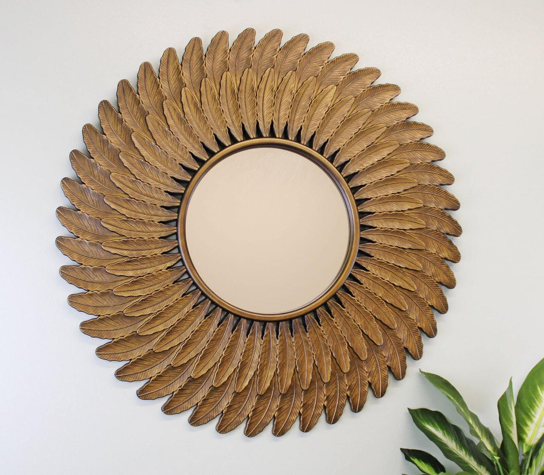 Bronze Effect Feather Frame Mirror - Angelo's Outlet Ltd