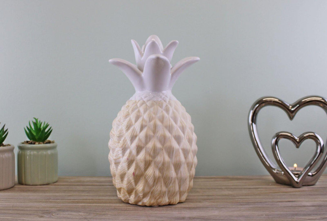 Ceramic White Pineapple Ornament 24cm - Angelo's Outlet Ltd
