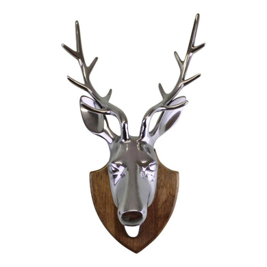 Silver Metal Stags Head On Wooden Mount, Wall Decor  | Angelo's Outlet