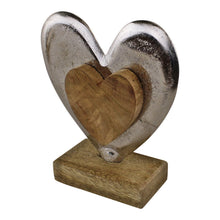 Load image into Gallery viewer, Metal and Wood Standing Heart Decoration
