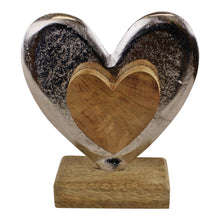 Load image into Gallery viewer, Metal and Wood Standing Heart Decoration | Angelo's Outlet