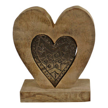 Load image into Gallery viewer, Small Wooden Heart Ornament with Silver Heart Insert