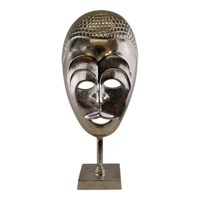 Silver Metal Tribal Mask Sculpture | Angelo's Outlet