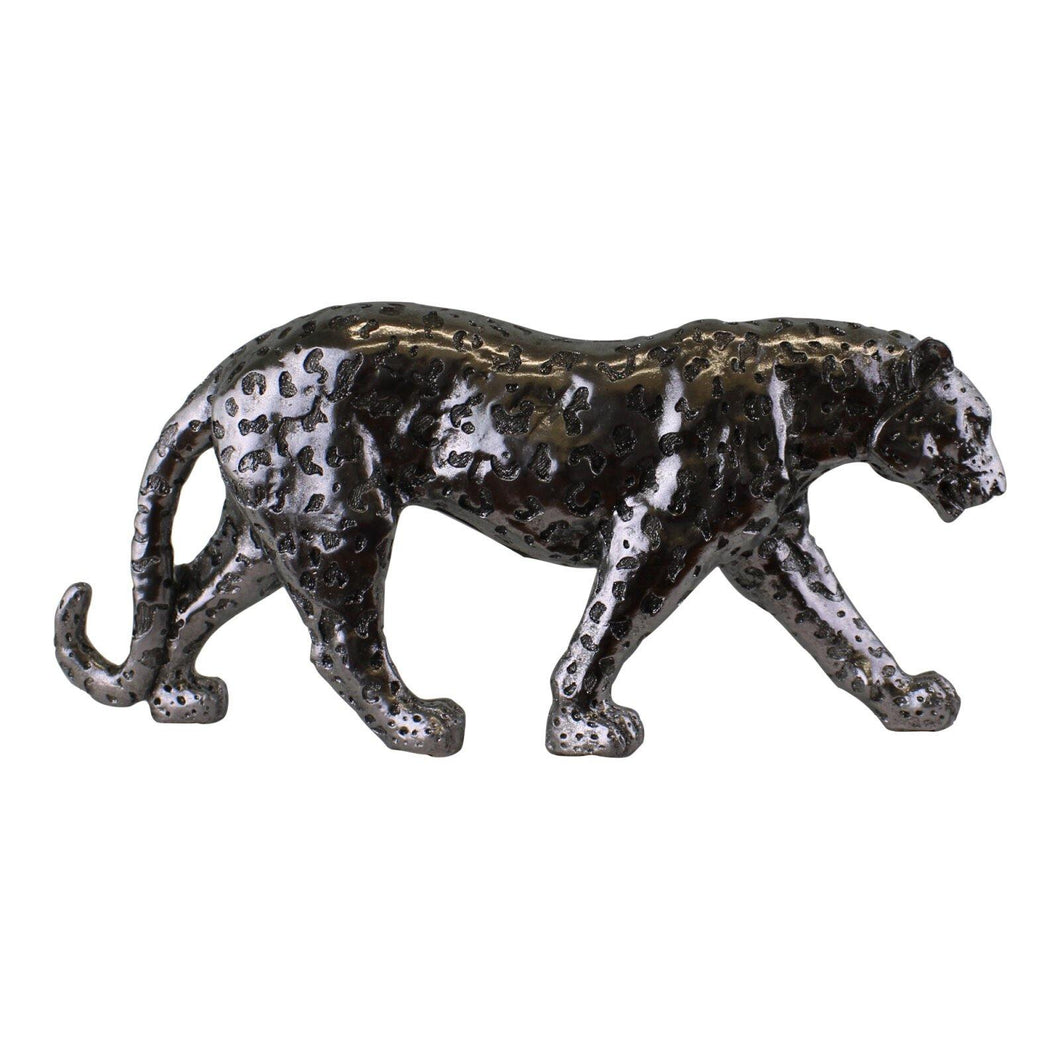 Silver Leopard Ornament Large