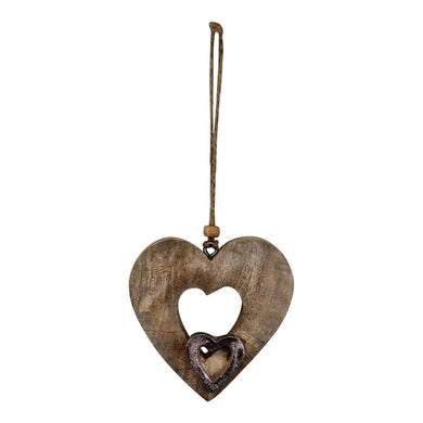 Small Wooden Cut Out Heart Decoration | Angelo's Outlet