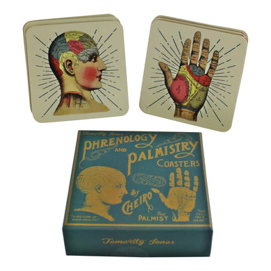 Set of 6 Phrenology & Palmistry Coasters | Angelo's Outlet
