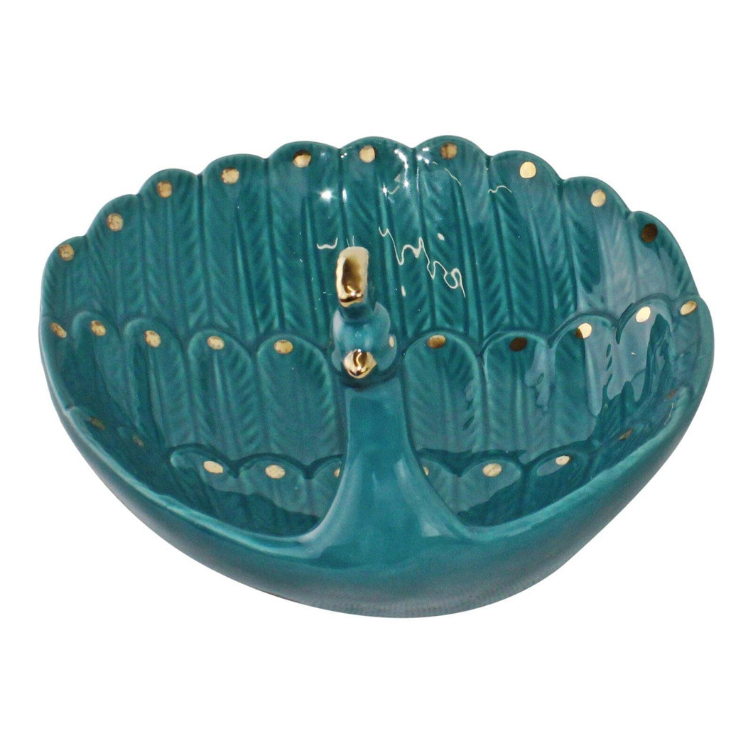 Ceramic Peacock Trinket Dish - Angelo's Outlet Ltd