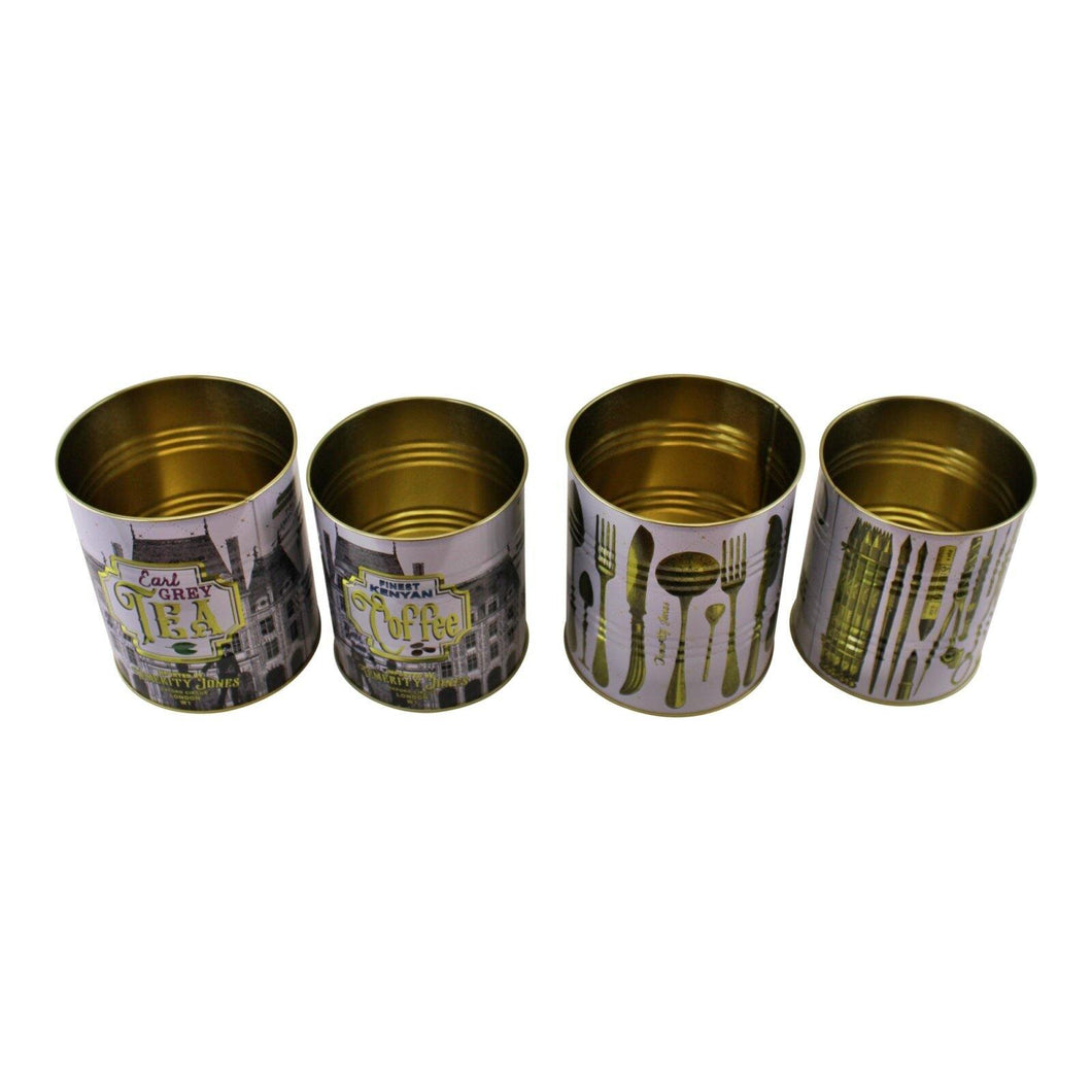 Set Of 4 Vintage Style Storage Tins