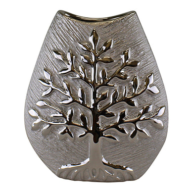 Ceramic Silver Tree Of Life Vase 20cm - Angelo's Outlet Ltd
