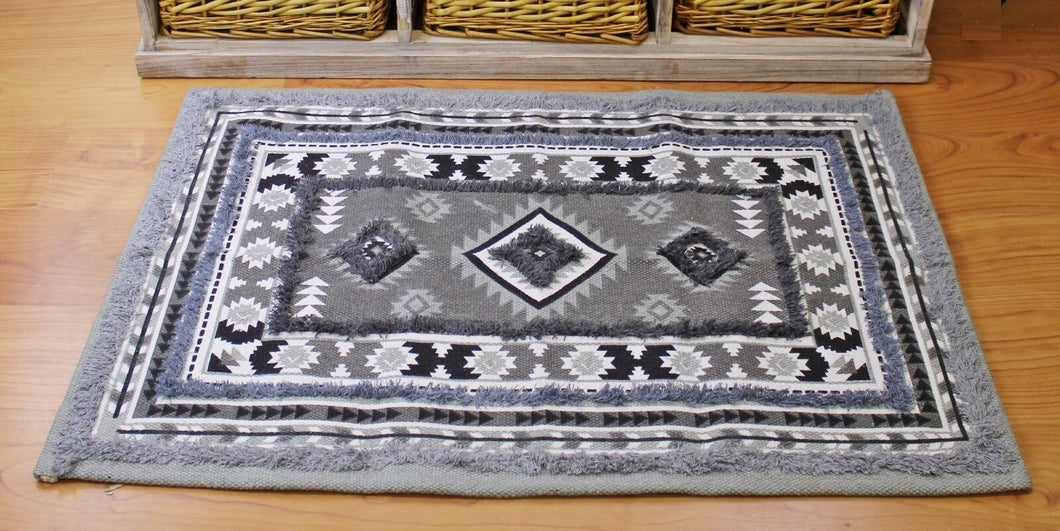 Grey Printed & Tufted Rug, 60x90cm