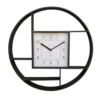 Black Plastic Wall Hanging Shelf Unit With Clock - Angelo's Outlet Ltd