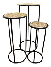 Load image into Gallery viewer, Set Of 3 Tall, Weave Effect Side Tables