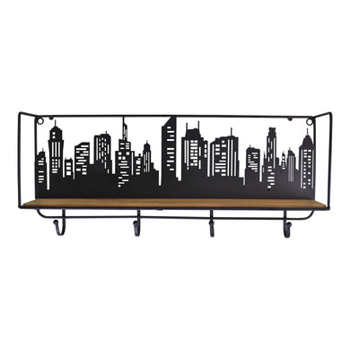 City Skyline Shelf Unit With 4 Hooks - Angelo's Outlet Ltd
