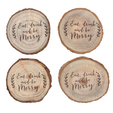 Set of 4 Printed Log Coasters - Angelo's Outlet Ltd