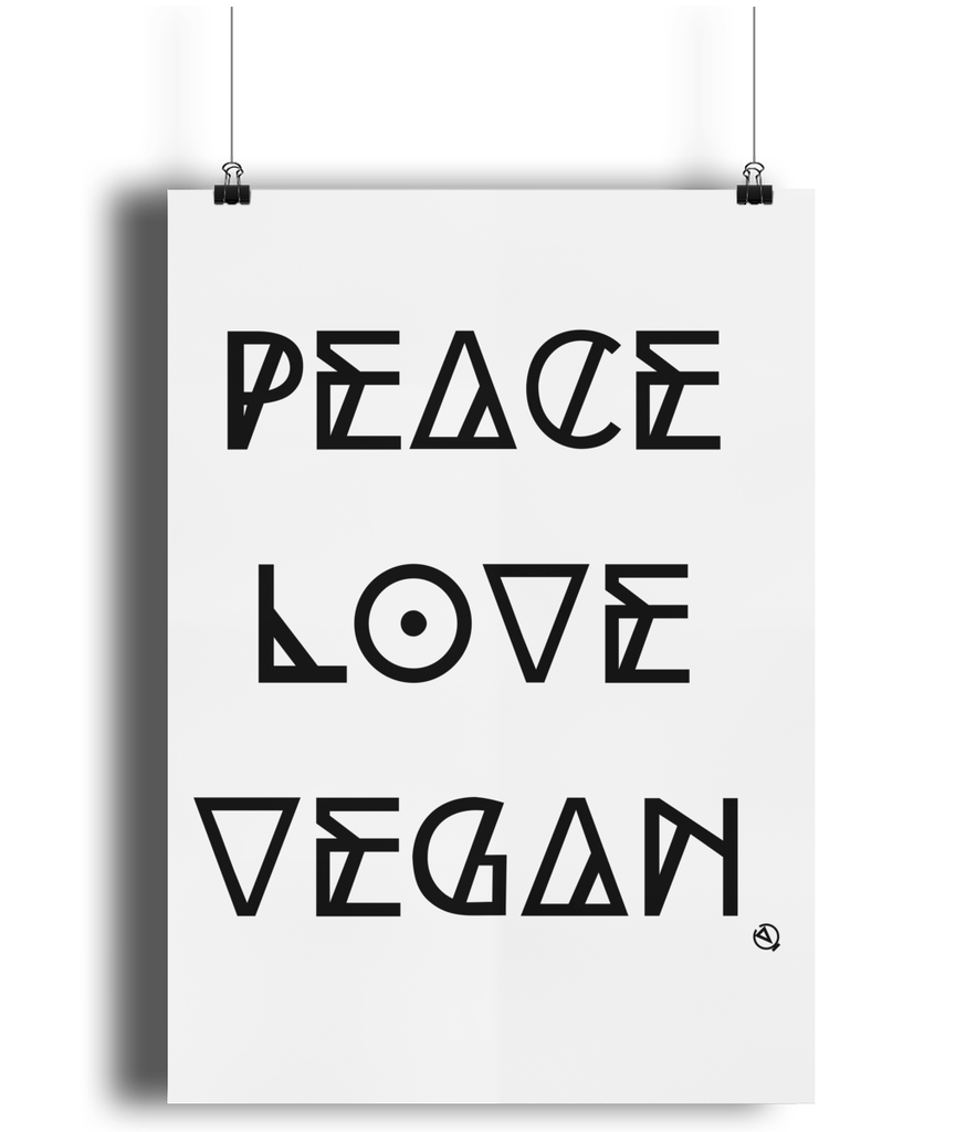 Peace Love Vegan - Eco Bamboo Art Print
