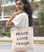 Load image into Gallery viewer, Peace Love Vegan - Organic & Recycled Tote Bag