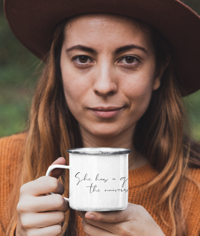 'She Has A Galaxy In Her Eyes, The Universe In Her Mind' - Enamel Mug