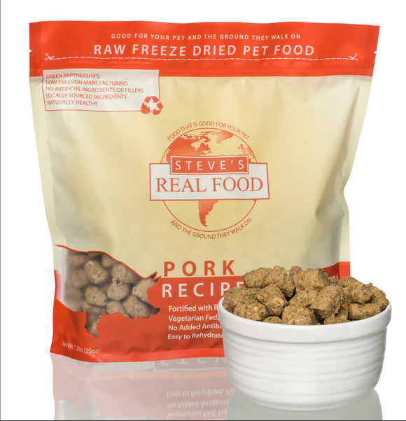 美國 Steve's Real Food Freeze Dried Nuggets 1.25lb (20oz) Pork Diet (For Cats & Dogs) - Ingredients