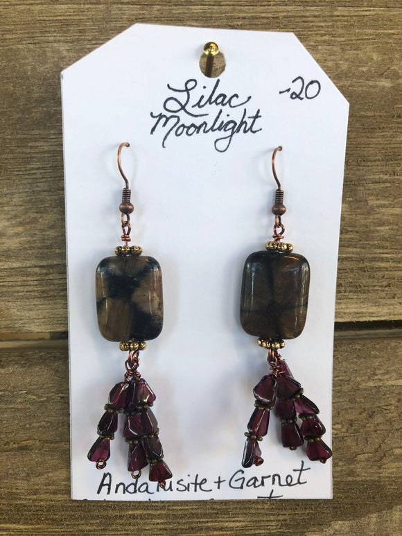 Andalusite + Garnet Earrings