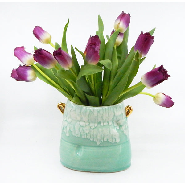 Soft Vase in Seafoam with Pink Interior - 28