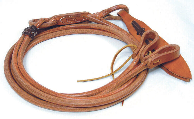 Schutz Brothers Rounded Harness Leather Romel Reins with waterloop ties at bit ends.     Made with Hermann Oak Harness Leather and rounded to be easy to hold in your hands.