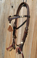 Dark Oil Leather Chestnut Tassel Futurity Brow Headstall Natural Rawhide - Ties