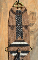 "Brand new,  Jose Ortiz - Vaquero Brand - 100% Mane Horse Hair Cinch/Cincha made in the Vaquero style with shu-fly.    This cinch is 32"" long end to end, single layer 27 strands and 7"" wide at the widest point.  Hand made from 100% natural mane hair in sorrel (light chestnut), brown, white and black & white candy stripe colors.   Accented by a large three-color center diamond and accent on each end."