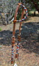 "Circle Y 5/8"" Infinity Beaded One Ear Headstall  - Brown / Red / Blue"