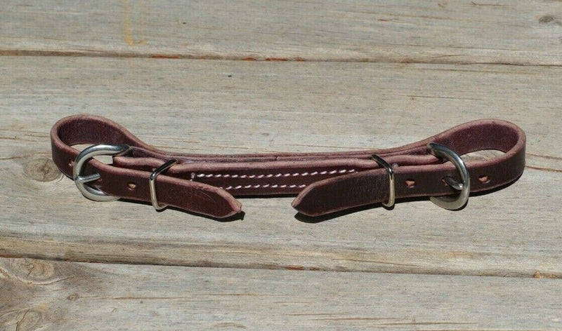 "Handmade 5/8"" burgundy latigo leather curb strap.  Adjusts up to 10"" long with the double stainless steel buckle ends."