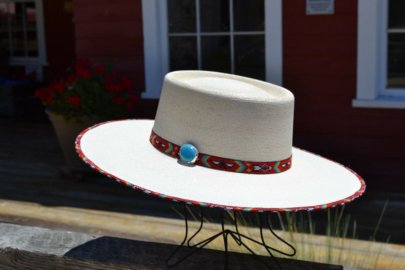 "right Side View Atwood Hat Company - 3.5"" Flat Brim Santa Fe Nevada - Long Oval - 15X Palm Leaf - Red thunderbird hat hatband with turquoise colored stone concho and matching edge binding."