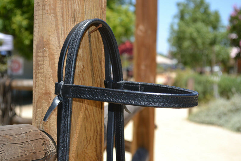 "Close Up View Jose Ortiz 3/4"" Straight Browband Headstall. Constructed of two-ply and stitched black finished leather. Hand carved with Jose's signature basket weave tooling."