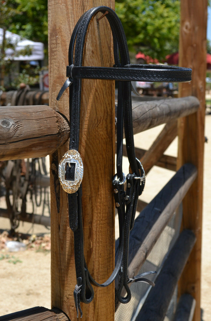 "Jose Ortiz 3/4"" Straight Browband Headstall.  Constructed of two-ply and stitched black finished leather.  Hand carved with Jose's signature basket weave tooling."