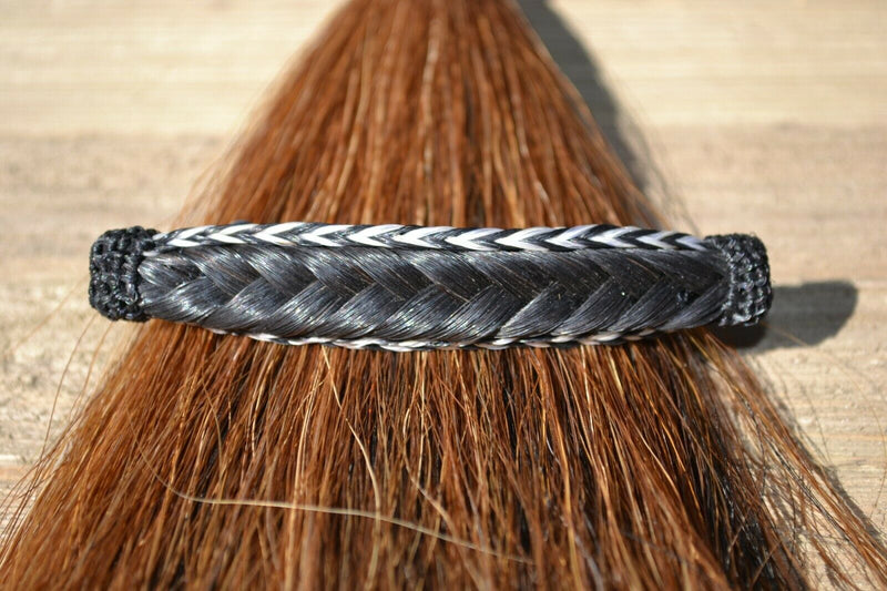"Close Up View  Awesome 5/8"" wide x 4"" long, French Braided Natural Horsehair Barrette. Black/White/Black"
