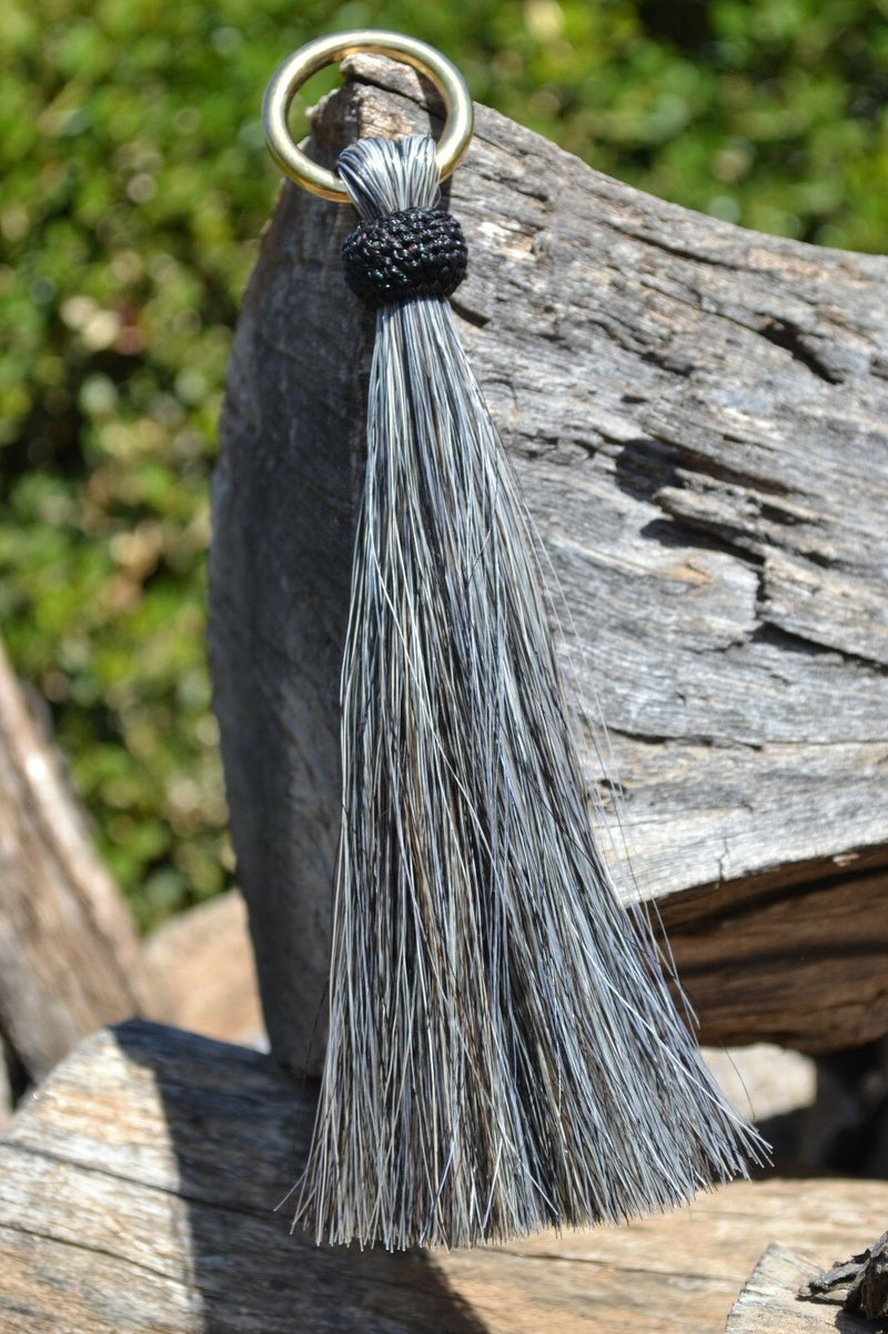 "Close Up View 6"" - Shu-fly tassels with Brass Ring. Handmade from 100% natural mane horsehair in natural horsehair colors.        Grey"