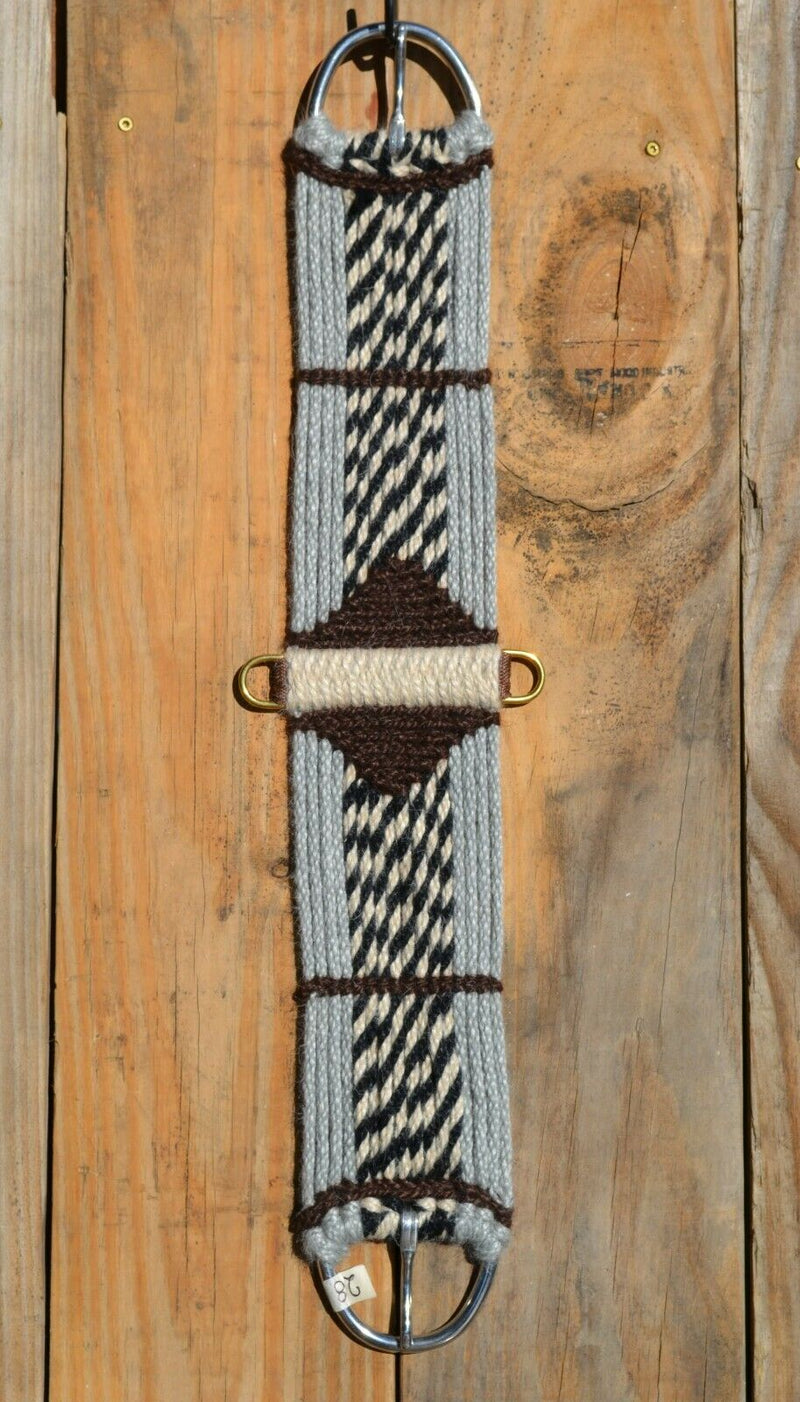 "Brand new,  Jose Ortiz - Vaquero Brand - 100% Mohair Cinch/Cincha made in the Vaquero style.    This narrower cinch is 28"" long end to end, single layer 16 strands and 4 1/2"" wide at the widest point.  Hand made from 100% natural mohair in grey, brown and black/natural stripe colors.   Accented by a two-color center diamond and accent on each end."