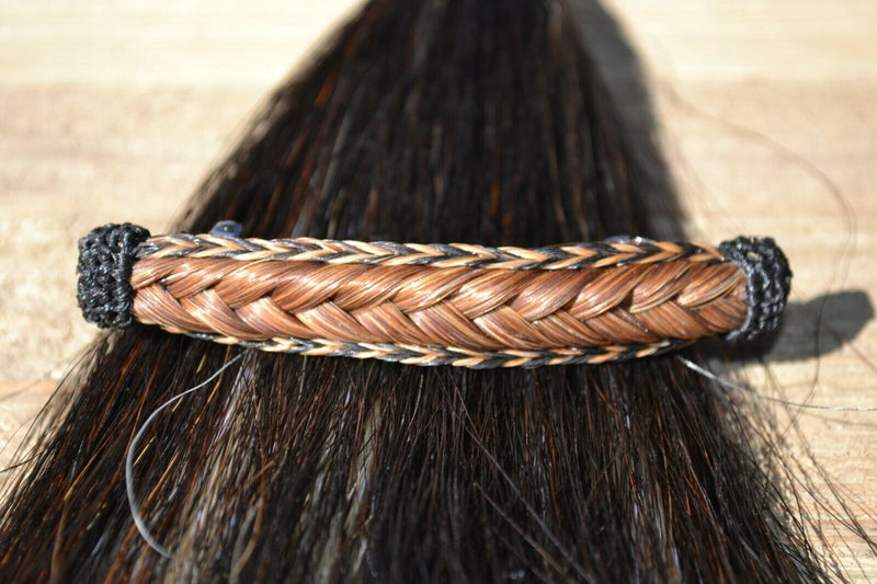 "Close Up View Awesome 5/8"" wide x 4"" long, French Braided Natural Horsehair Barrette. Chestnut/Black/Chestnut"