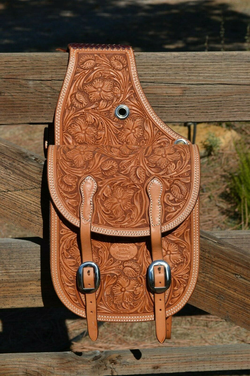 Right Side View Billy Cook Beautiful hand carved Sheridan Floral Tooled Western Saddle Bags.  Deeply carved on light russet leather with latigo leather gusset pocket.