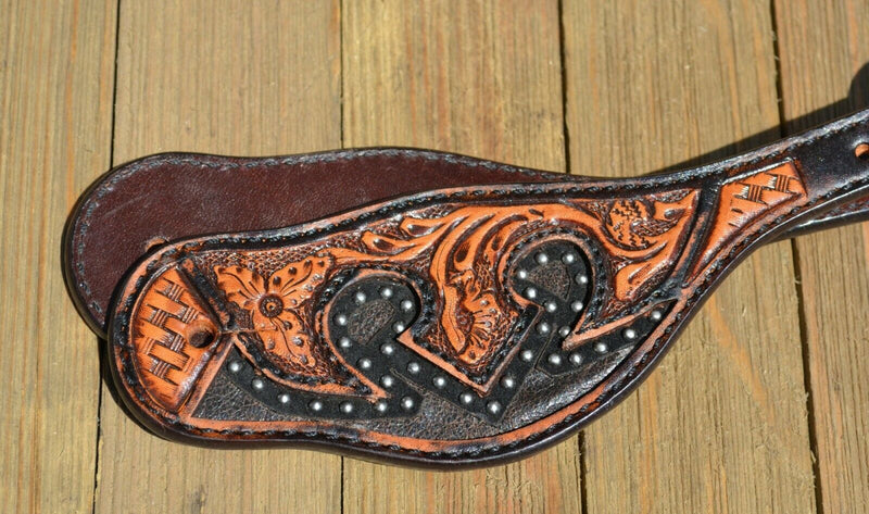 Circle Y Dark Oil Antiqued Brown Inlay Spur Straps Tooling - Mens