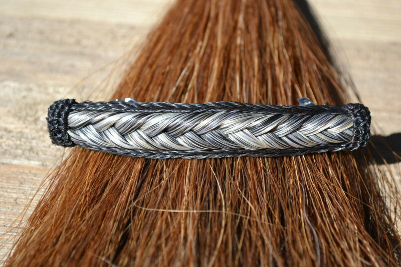 "Close Up View Awesome 5/8"" wide x 4"" long, French Braided Natural Horsehair Barrette. Black/Grey"