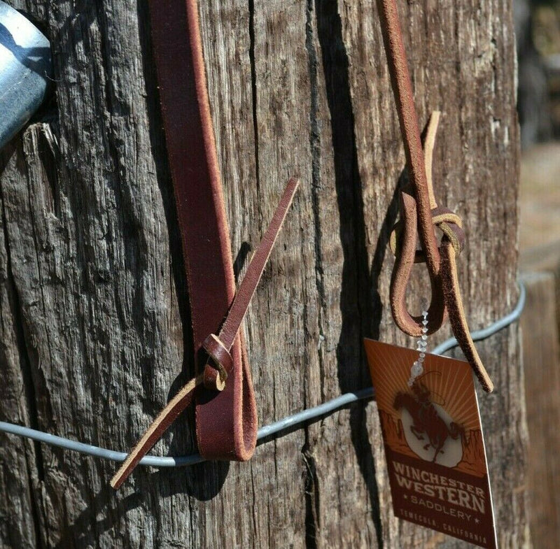 Close Up Bit Ends Schutz Brothers Economy Latigo Leather One Ear Headstall with Tie Ends. Super nice basic headstall, nice quality leather and even a better price.
