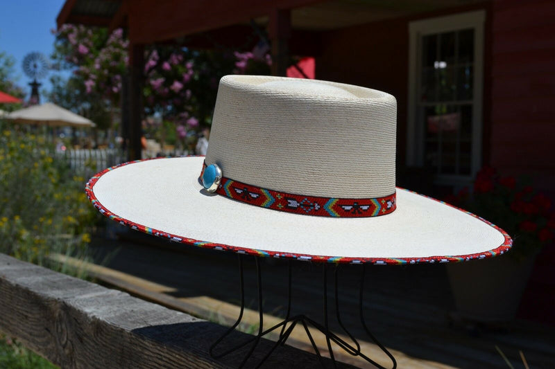 "Brim View Atwood Hat Company - 3.5"" Flat Brim Santa Fe Nevada - Long Oval - 15X Palm Leaf - Red thunderbird hat hatband with turquoise colored stone concho and matching edge binding."