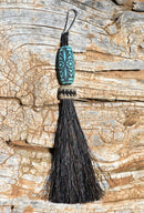 "Close Up View 4 1/2"" total length horsehair zipper pull with spring clip. Handmade horsehair various colors and beading pattern. Black-Turquoise"