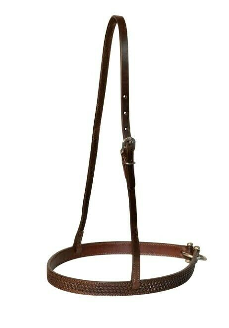 Circle Y Tie-Down Noseband with Basket Weave Tooling  - Walnut
